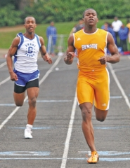 by:  JIM CLARK, Benson's Nycole Griffin (right) wins the 100 meters during last Wednesday's meet at Grant. The sophomore speedster ranks first in Class 6A in the 200 and third in the 100.
