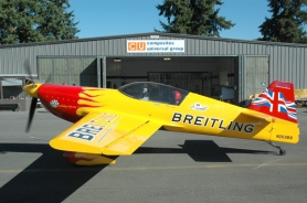 by: Photo courtesy Composites Universal, British air racing champion will take delivery this week of a new MXS air racer made in Scappoose. He will provide an aerobatic demonstration with the new plane Wednesday.