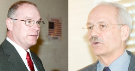 by: Rick Swart, Jeff Dickerson (left) and Gerry Simmons (right) continued their campaigns for Columbia County sheriff at a forum sponsored by the Rainier Chamber of Commerce.