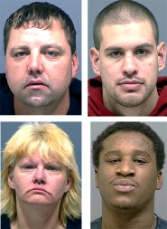 by: Courtesy of CCSO, Authorities have arrested Shannon R. Pierce (top left), Darold M. Hagerman (top right), Diana L. Engle (bottom left) and Charles Jenkins Jr. (bottom right)in connection with the April 17 murder of an Oregon City man.