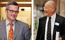 by: , The two leading candidates for mayor, city Commissioner Sam Adams (left) and business owner Sho Dozono, have different takes on what figure each agreed to as a fundraising limit.