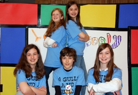 by: Submitted photo, HEADED FOR GLOBALS —Four Gulls and a Buoy is one of two Destination ImagiNation teams from Twality Middle School to qualify for the international competition at the University of Tennessee in May.  They are (front row, from left) Zoe Ripplinger, Phillip Hulquist and Rebekah Hays, and (back row, from left) Abby Phillips and Katie Howell.