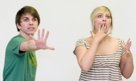 by: John Klicker, Alex Bowman, left, and Anna Austin rehearse a skit based on Peter Pan on Monday, April 28, at Barlow High School as they prepare for national competition.