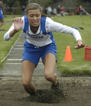 by: David Ball, Gresham's Kyra Speer competes in the long jump during a meet earlier this year. She took second in the event Saturday at the Centennial Invitational and was third in the triple jump.