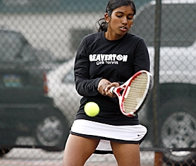by: JONATHAN HOUSE, WINNER — Beaverton senior Krishnaveni Subbiah rockets a backhand over the net during her win over Westview last Thursday at Beaverton High School.