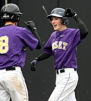 by: MILES VANCE, HOMER HITTER — Sunset's Michael Duggan (right) celebrates his sixth-inning homer against Beaverton.