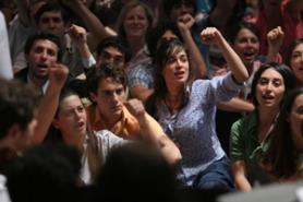 "by: ©2008 THINKFILM, ""My Brother Is an Only Child"" is set against the backdrop of the late 1960s, a turbulent time in European politics. Accio and Francesca (Elio Germano and Diane Fleri, middle) join the demonstrations."