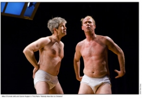 "by: ©2008 OWEN CAREY, Michael O'Connell (left) and Damon Kupper strut their stuff in Third Rail Repertory's ""Nobody Here But Us Chickens."""