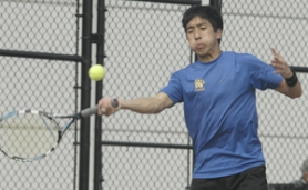 by: David Ball, Barlow's Kevin Sayson goes for a return during his No. 1 singles match Thursday at David Douglas. The Scots' Wyatt Chan won the bout in straight sets, but Barlow won the team tally 6-2.