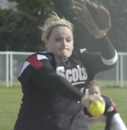 by: David Ball, David Douglas pitcher Amy Greenough fires a throw to the plate during the Scots' 1-0 shutout win against Barlow on Thursday. Greenough finished with seven strikeouts.