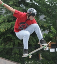 by: Vern Uyetake, Tigard's Joel Shelley performs a trick during Saturday's competition at the Lake Oswego Skate Park. Shelley won the 16-18 Open division.