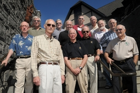 by: Vern Uyetake, Veteran fighter pilots known as the MISTYs, who flew classified missions over the Ho Chi Minh Trail during the Vietnam War, held a three-day reunion in Lake Oswego this week. Pictured are Tony McPeak (front) and clockwise, Lanny Lancaster, Dick Rutan, Brian Williams, Kelly Irving, Jim Piner, Bill Douglass, Ed Risinger, Don Sheppard, Bud Day, Charlie Neel and Charlie Summers.