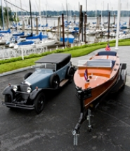 by: , A 1929 Mercedes and a 1929 Chris Craft are perfect subjects for the poster advertising the 2008 Collector Car and Wooden Boat Show on Sunday in Lake Oswego. The event will have 250 cars, 30 boats and over 2,000 people.
