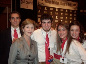 by: SUBMITTED PHOTO COURTESY OF AMOS ROTHSTEIN, Amos Rothstein, center, a senior at Lakeridge High School, enjoys a moment with First Lady Laura Brush and other youth at the Republican National Conven-tion last week.