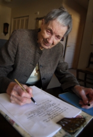 by: VERN UYETAKE, Virginia Campbell, 98, has penned more than 100 political limericks since the presidential primary last spring. Word of her verse has traveled, particularly through a great-nephew who posted the limericks online at maceratingshallots.blogspot.com .