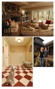by: Vern Uyetake, Wendy Martel Klann and her husband, Ben Klann, said their new Craftsman home Ben designed is comfortable. The family room has plush furniture.  A dog room, below, was created for their late dog, Otis, and features a shower and floor for easy clean-up.