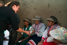 by: , Nurse Kathy Blanco, of Chicago, Ill., conducts a heart Outreach Clinic for CardioStart in the remote high mountain village in the Colca Canyon, Peru, one of the deepest canyons on earth.