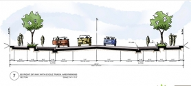 "by: Courtesy of Portland Bureau of Transportation, An architectural rendering of the Cully Boulevard Improvement Project shows the proposed design for the city's first ""cycle track,"" a modified bike lane elevated two inches above the motorist travel lane. Letter writers question whether improving sidewalks and streets in Cully shouldn't have priority."