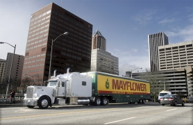 by: Tribune File Photo, A Mayflower Moving truck pulls up onto the Hawthorne Bridge in Southwest Portland. Letter writers weigh in on a Tribune article indicating Multnomah County has not been overrun by transplants.