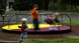 by: L.E. Baskow, Children play on a Brooklyn Park merry-go-round. While one writer claims that raising the state's corporate minimum tax will hurt many small businesses, another writer is relieved that lawmakers provided children with health insurance and helped fix our state's roads.