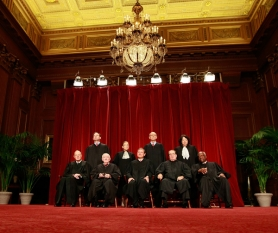 by: Mark Wilson, Members of the US Supreme Court pose for a group photograph at the Supreme Court building in Washington, DC. Two My View writers debate the impact last week's decision for the Citizens United v. Federal Election Commission case will have on future campaign spending.