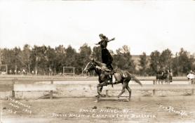 by: COURTESY OF Oregon Historical Society, Tillie Baldwin, shown in 1912 at the Pendleton Round-Up, was the first cowgirl known to wear bloomers instead of skirts.