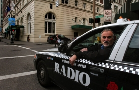 by: L.E. BASKOW, Radio Cab driver Bob Wagner, outside the Benson Hotel on Southwest Broadway, is hoping hotel valets quit giving fares to the drivers who slip them $10 in a handshake.