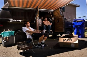 "by: Jeffrey Basinger, Drew Hicks (left) and Jon Meyer, co-creators of the Web series ""The Free Box,"" relax in the shade of Meyer's residence — a van parked behind Brick's Barber in Southwest Portland."