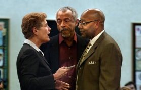 by: L.E. BASKOW, Portland Public Schools Superintendent Carole Smith discusses the possible closing of Jefferson High School with community leaders Ron Herndon and Tony Hopson (right) at a school board work session in June. The board recently attempted to dramatically overhaul Jefferson High School amid the African-American community's protests.