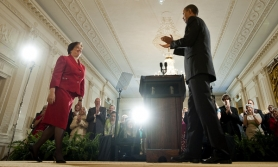 by: JIM WATSON, President Obama applauds as designated Supreme Court Justice Elena Kagan (left) smiles during a reception in her honor last week at the White House. Kagan has become only the fourth woman to win confirmation as a Supreme Court justice.