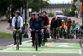 by: Tribune File Photo Mayor Sam Adams and former TriMet General Manager Fred Hansen inagurated the new bike lane through the Rose Quarter in 2008 — an example of the city's commitment to livability.