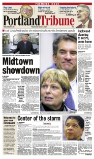 by:  The front page of the first Tribune in February 2001.