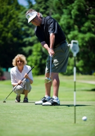 by: Jeffrey Basinger Golfer Ron Plath, who is legally blind, gets help on the course from his wife, Carolyn. Plath doesn't let his disability stop him from competing nationally — and bringing home a few trophies.