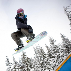 by: CHRISTOPHER ONSTOTT Timberline Lodge and Ski Area has embraced snowboarding over the years; Molly Kohnstamm, wife of longtime owner Richard Kohnstamm, loved snowboarding and was an early trendsetter for the sport locally.