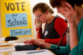 by: Christopher Onstott Cleveland High School student Hannah Parker makes phone calls with Katie Rozek, a Riverdale High School student, and others to raise awareness of the two funding measures Portland Public Schools will ask voters to approve May 17. Letter writers weigh in on the issue.