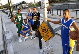 by: JIM CLARK In March 2004, the Portland Tribune's All-City basketball team gathered for photo opportunities around town. From left are Germain Jordan-Brown, Brian Morris, Donnie Harrison-Davis, Andre Ferguson and Mac Hopson.