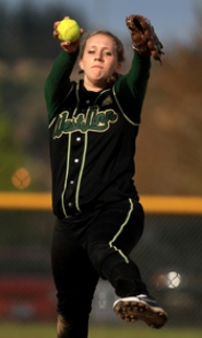 by: VERN UYETAKE Caroline MacAusland is one of two talented returning pitchers for West Linn this year.