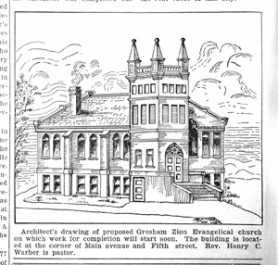 by:  A drawing of the new, in 1931, Zion Evangelical Church, which was built on Fifth Street and Main Avenue 80 years ago.
