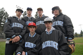 by: VERN UYETAKE Clockwise from back left: Drew Northfield, Ryan Russell, Tyler Binns, Logan Henry, Cameron Wood and Tyler Smith hope to guide Lakeridge through a tough schedule and into contention for a league title this year.