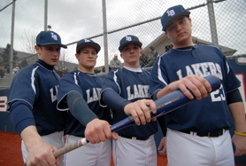 by: VERN UYETAKE From left, Michael Stroble, Taylor Sanders, Brock Pellow and Austin Gallagher are part of a strong core for the Lake Oswego baseball team that is reloaded as one of the premier teams in the state again this season.