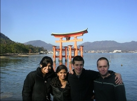 by: Submitted Photo Namitha Lukose, Lavanya Sridharan, Aidan McLeod and Elliott Jackson visited the Itsukushima Shrine near Hiroshima, Japan, during their February trip.