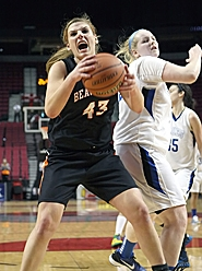 by: Miles Vance IT'S MINE — Beaverton senior Marissa Rakestraw rips down a rebound during her team's 52-51 state tournament loss to St. Mary's on Friday morning at the Rose Garden.