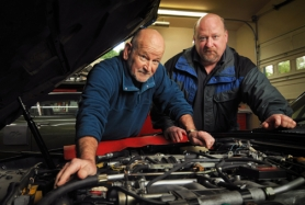 by: vern uyetake Vic Keeler, left, and Michael Keeler are the driving forces behind Vic's Auto Care Center Inc.  in Lake Oswego. Vic Keeler is semi-retired and generally works on the cars of his choosing.