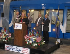 by: raymond rendleman United Streetcar President Chandra Brown introduces U.S. Transportation Secretary Ray LaHood (from left), Kurt Schrader (D-Oregon City), Earl Blumenauer (D-Portland) and Peter Defazio (D-Springfield) at the company's unveiling of a $4 million fabrication bay and test track.