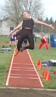 by: John Brewington TRIPLE THREAT—Scappoose's Mason Foumal won the long, jump, high jump and was on the winning 4x400 Relay team.