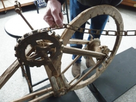by: Sharon Nesbit Tom Metzger was a just a kid when this wooden bike was found in a grain bin at 12-Mile Corner.