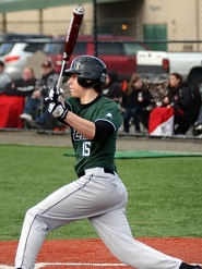 by: DAN BROOD SWEET SWING – Senior Kyler Garcia tripled, just barely missing a home run, in Tigard's 12-10 win over Oregon City.