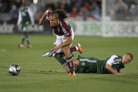 by: MICHAEL MARTIN Portland Timbers captain Jack Jewsbury sees Quincy Amarikwa of the Colorado Rapids get past him in the Timbers' 3-1 loss last week at Dicks Sporting Goods Park in Commerce City, Colo.