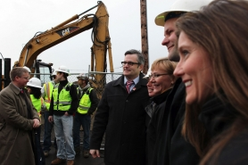 by: JAIME VALDEZ Mayor Sam Adams, pictured here at a March 22 transportation-related event in South Waterfront, says the Portland portion of the streetcar extension from there to Lake Oswego is necessary for the city's future.