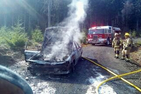 by: Randy Hoodenpyl Firefighters contained a car fire up the road from Stimson Lumber, located near Gaston. Portland Police reported the car stolen.